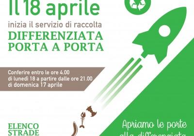Lunedì 18 aprile parte la raccolta porta a porta in Area 1: modalità di conferimento e vie interessate