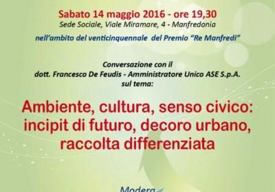 """Ambiente e futuro, sabato 14 maggio la """"Fondazione Re Manfredi"""" a confronto con """"A.S.E. SpA"""""""